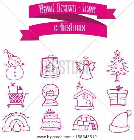 Illustration of Christmas set icons collection stock