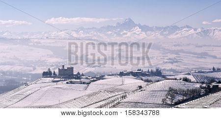 View Of The Castle Of Grinzane Cavour In Winter With Snow