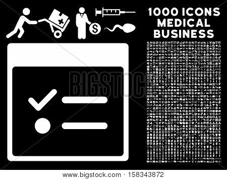 White Todo Items Calendar Page vector icon with 1000 medical business pictograms. Set style is flat symbols, white color, black background.