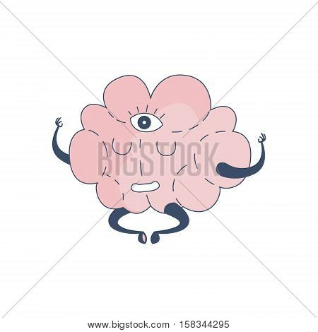 Brain In Lotus Pose With Third Eye Comic Character Representing Intellect And Intellectual Activities Of Human Mind Cartoon Flat Vector Illustration. Cartoon Human Central Nervous System Organ Emoji Design.