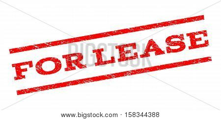 For Lease watermark stamp. Text caption between parallel lines with grunge design style. Rubber seal stamp with scratched texture. Vector red color ink imprint on a white background.