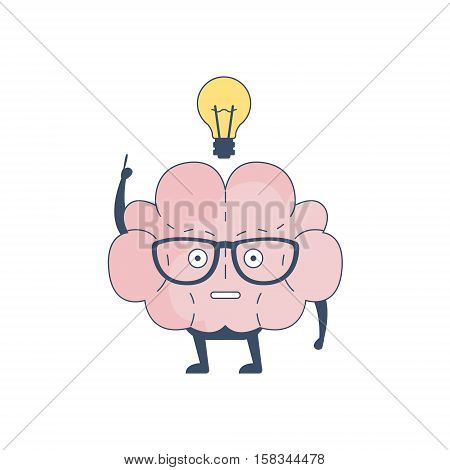 Brain Has And Idea Comic Character Representing Intellect And Intellectual Activities Of Human Mind Cartoon Flat Vector Illustration. Cartoon Human Central Nervous System Organ Emoji Design.