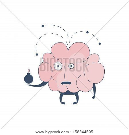 Brain Exploding Comic Character Representing Intellect And Intellectual Activities Of Human Mind Cartoon Flat Vector Illustration. Cartoon Human Central Nervous System Organ Emoji Design.