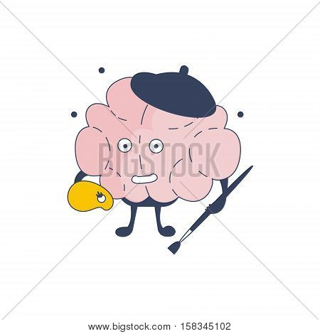Brain Artist Comic Character Representing Intellect And Intellectual Activities Of Human Mind Cartoon Flat Vector Illustration. Cartoon Human Central Nervous System Organ Emoji Design.