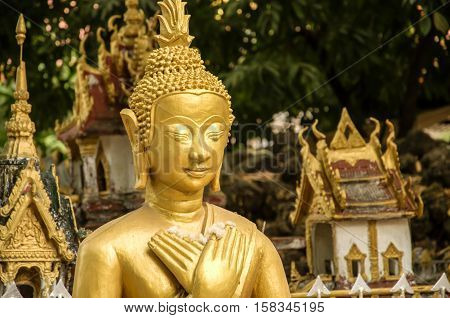 Face of Buddha image in Si Moung Temple Vientiane Laos