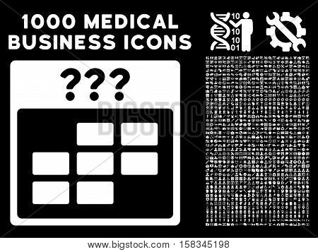 White Unknown Month Calendar Grid vector icon with 1000 medical business pictograms. Set style is flat symbols, white color, black background.