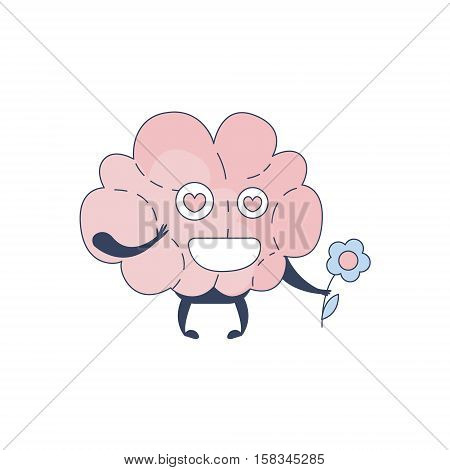 Brain In Love Comic Character Representing Intellect And Intellectual Activities Of Human Mind Cartoon Flat Vector Illustration. Cartoon Human Central Nervous System Organ Emoji Design.