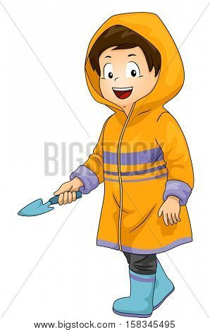 Illustration of a Cute Little Boy in a Yellow Raincoat Carrying a Trowel