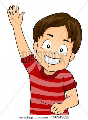 Illustration of a Cute Little Boy Enthusiastically Raising His Hand During a Class Discussion