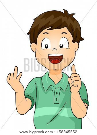Illustration of a Cute Little Boy Counting One to Ten With His Fingers