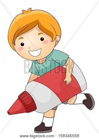 Illustration of a Cute Little Boy Happily Running While Carrying a Giant Glue