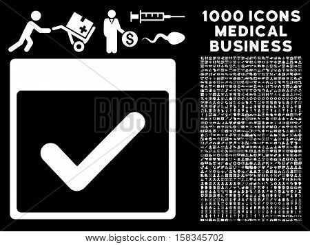 White Valid Day Calendar Page vector icon with 1000 medical business pictograms. Set style is flat symbols, white color, black background.