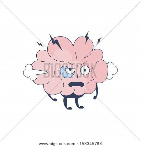 Brain Pissed Off Comic Character Representing Intellect And Intellectual Activities Of Human Mind Cartoon Flat Vector Illustration. Cartoon Human Central Nervous System Organ Emoji Design.