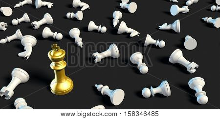 Last Man Standing Business Chess Strategy Business Concept 3d Render