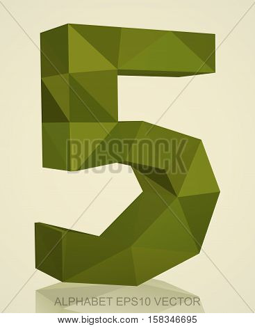 Abstract Khaki 3D polygonal number 5 with reflection. Low poly alphabet collection. EPS 10 vector illustration.