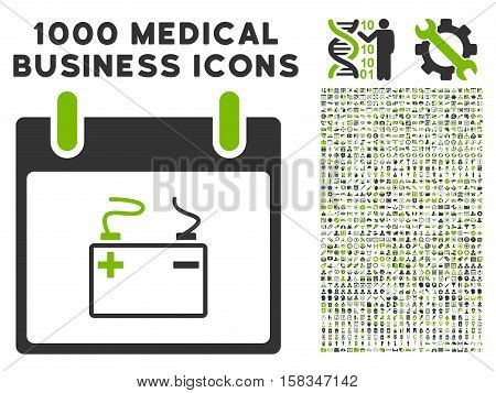 Eco Green And Gray Accumulator Calendar Day vector icon with 1000 medical business pictograms. Set style is flat bicolor symbols, eco green and gray colors, white background.