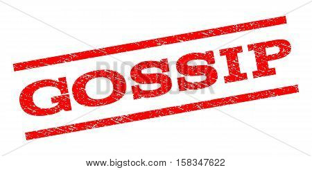 Gossip watermark stamp. Text tag between parallel lines with grunge design style. Rubber seal stamp with dust texture. Vector red color ink imprint on a white background.