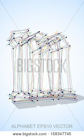 Abstract illustration of a Multicolor sketched lowercase letter M with Transparent Shadow. Hand drawn 3D M for your design. EPS 10 vector illustration.