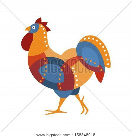 Rooster Farm Bird Colored In Artictic Modern Style Filled With Blue, Red And Orange Geometrical Shapes And Smal Dots Pattern Colorful Illustration. Decorative Creative Design Of Chicken Shaped Isolated Drawing In Doodle Style.