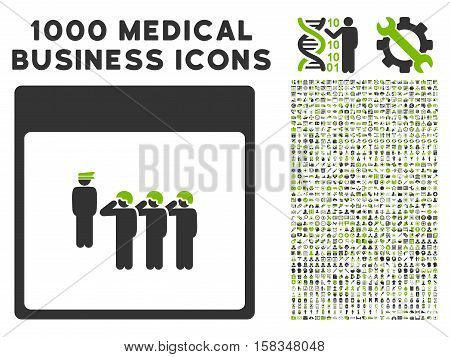 Eco Green And Gray Army Squad Calendar Page vector icon with 1000 medical business pictograms. Set style is flat bicolor symbols, eco green and gray colors, white background.