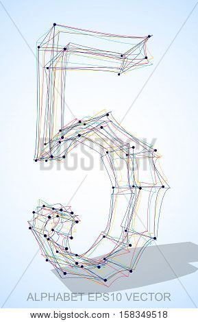 Abstract illustration of a Multicolor sketched number 5 with Transparent Shadow. Hand drawn 3D number 5 for your design. EPS 10 vector illustration.