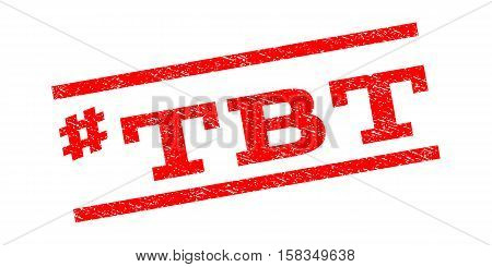 Hashtag Tbt watermark stamp. Text tag between parallel lines with grunge design style. Rubber seal stamp with dust texture. Vector red color ink imprint on a white background. poster