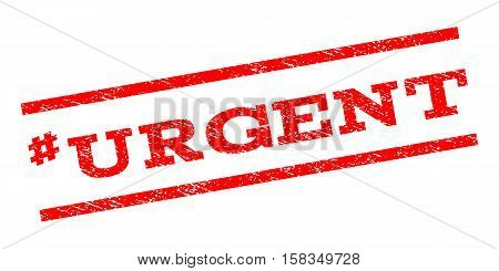 Hashtag Urgent watermark stamp. Text tag between parallel lines with grunge design style. Rubber seal stamp with unclean texture. Vector red color ink imprint on a white background.