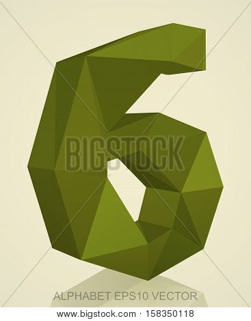 Abstract Khaki 3D polygonal number 6 with reflection. Low poly alphabet collection. EPS 10 vector illustration.