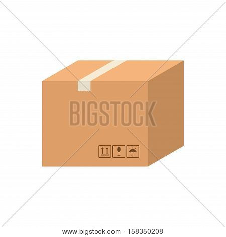 Delivery cardboard box carton vector isolated on white background. Cardboard box pack with handling packing icons. Closed parcel box, package paper box in flat style.