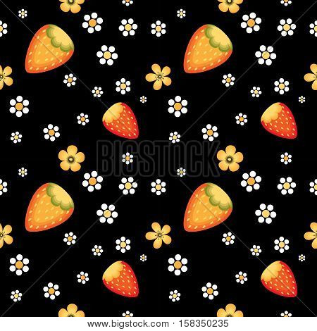 Strawberry fields in Khokhloma traditional style. Vector seamless pattern for wrapping paper or fabric.