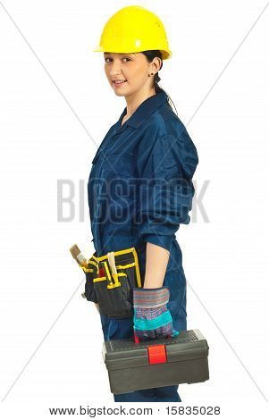 Worker Woman With Tools Container