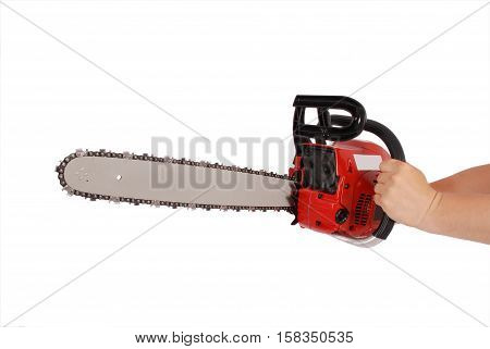Showing how to work with chainsaw isolated on white