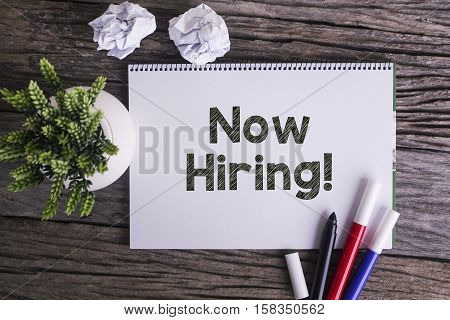 Notepad and green plant on wooden background with Now Hiring! word