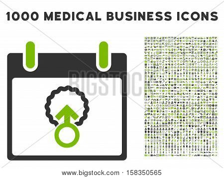 Eco Green And Gray Cell Penetration Calendar Day vector icon with 1000 medical business pictograms. Set style is flat bicolor symbols, eco green and gray colors, white background.