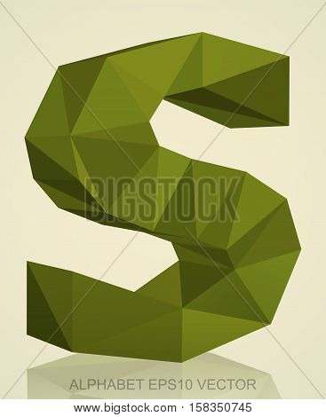 Abstract Khaki 3D polygonal lowercase letter S with reflection. Low poly alphabet collection. EPS 10 vector illustration.