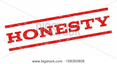 Honesty watermark stamp. Text tag between parallel lines with grunge design style. Rubber seal stamp with scratched texture. Vector red color ink imprint on a white background.