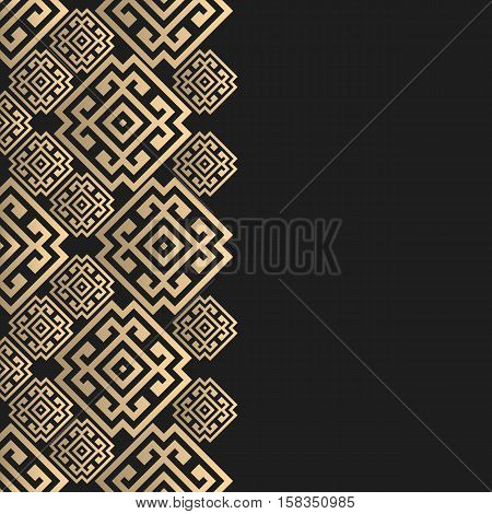 Vector geometric background greek style. Meander vector border for design. Light golden vector frame. Premium vector card in luxury style.