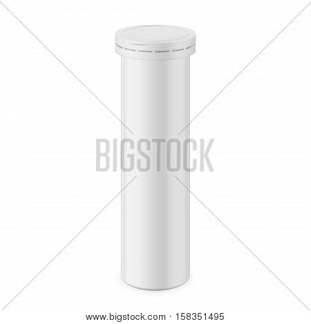 Round white glossy aluminum bottle with cap for effervescent or carbon tablets, pills, vitamins. Realistic packaging vector mockup template. Eye-level view.