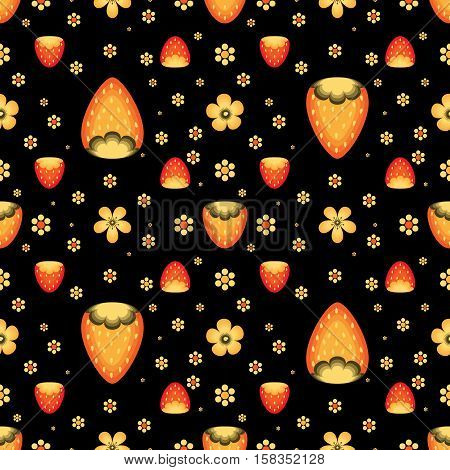 Strawberry fields in Khokhloma traditional style. Vector seamless pattern for wrapping paper or fabric. Black backdrop