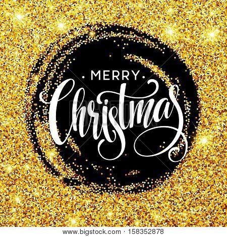 Handwritten calligraphic inscription Merry Christmas in a circle pattern of golden confetti. Design element for banner, card, invitation, label, postcard, vignette. Vector illustration EPS10