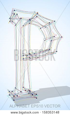 Abstract illustration of a Multicolor sketched uppercase letter P with Transparent Shadow. Hand drawn 3D P for your design. EPS 10 vector illustration.