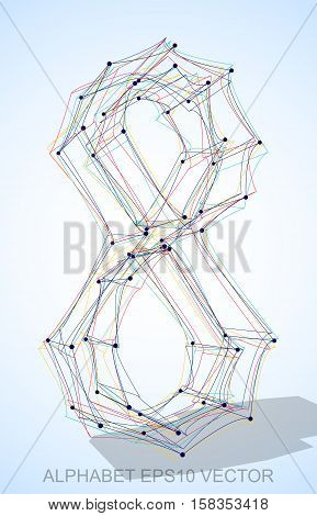 Abstract illustration of a Multicolor sketched number 8 with Transparent Shadow. Hand drawn 3D number 8 for your design. EPS 10 vector illustration.