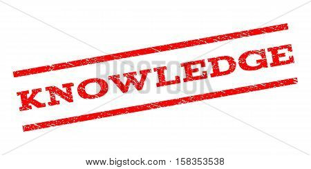 Knowledge watermark stamp. Text tag between parallel lines with grunge design style. Rubber seal stamp with dirty texture. Vector red color ink imprint on a white background.