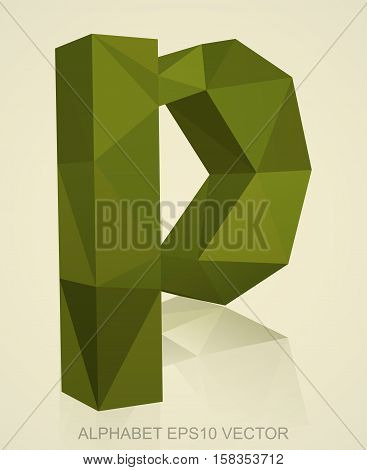 Abstract Khaki 3D polygonal lowercase letter P with reflection. Low poly alphabet collection. EPS 10 vector illustration.