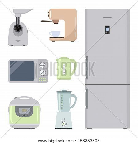Set of kitchen equipment on a white background. There is a refrigerator, meat grinder, crock pot, kettle, microwave, blender and coffee machine in the picture. Vector illustration