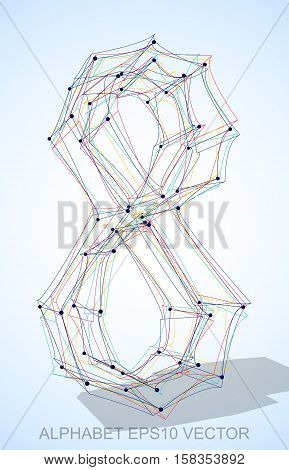 Abstract illustration of a Multicolor sketched number 0 with Transparent Shadow. Hand drawn 3D number 0 for your design. EPS 10 vector illustration.