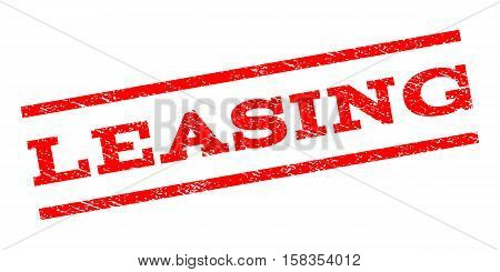 Leasing watermark stamp. Text tag between parallel lines with grunge design style. Rubber seal stamp with scratched texture. Vector red color ink imprint on a white background.