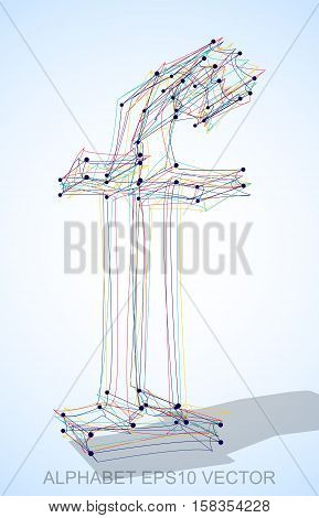 Abstract illustration of a Multicolor sketched lowercase letter F with Transparent Shadow. Hand drawn 3D F for your design. EPS 10 vector illustration.