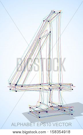 Abstract illustration of a Multicolor sketched number 4 with Transparent Shadow. Hand drawn 3D number 4 for your design. EPS 10 vector illustration.
