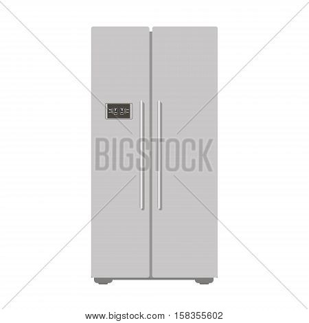 Illustration grey closed refrigerator kitchen for food - vector stock. Freser, home appliance, daily ration